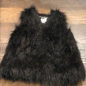 Girls black faux fur vest